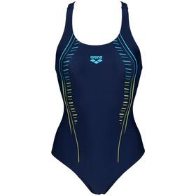 arena Glitzy V Back One Piece Swimsuit Women, niebieski